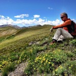 Jeffrey Bergeron hiking sunflowers