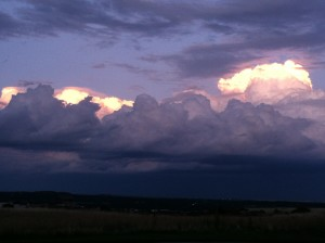 sunset on storm clouds